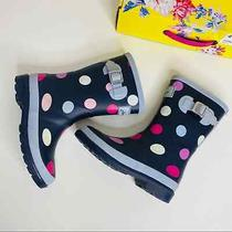 Joules Polka Dot Molly Welly Navy Rain Snow Boots Natural Rubber Rainboots Girls Photo