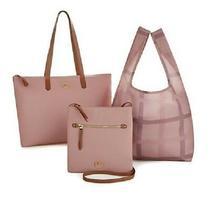 Joy Luxe Genuine Leather Handbag Chic Crossbody With Shopper Tote Blush New  Photo