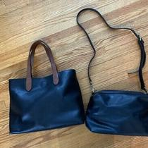 Joy Susan Black Purse Hobo Handbag With Small Clutch Included. Vegan Leather Photo