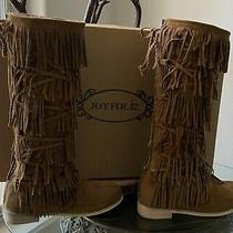 Joyfolie Girls Cheyenne Riley Boots Sz Youth 3 in Pecan Excellent Condition Photo