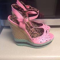 Jp-Trerendy 8 Jessica Simpson Pink Green Watermelon Platform Wedge Heels Photo
