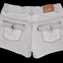 jR's Levi's Jean Shorts Cut Off Cuff Diy Up-Cycle Lace Bling Size Xs 0 To114    Photo