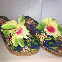 Judi Flowers for Bonjour Fleurette Hawaiian Print Sandals/slippers- Size M Photo