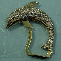 Judith Leiber Dolphin Key Fob Gold Tone With Swarovski Crystals Photo