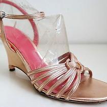 Judith Leiber Rose-Gold Leather Swarovski Crystals Slingbacks Sandals Sz 8.5 B Photo