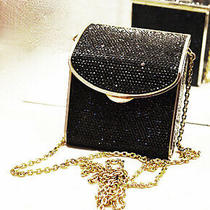Judith Leiber Swarovski Crystal Black Clutch/shoulder Mini Bag    Ag Photo