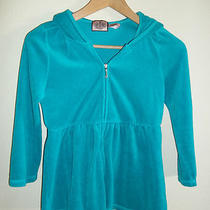 Juicy Couture Aqua Blue Jacket Hoodie Small S Babydoll 3/4 Sleeve Velour Womens Photo
