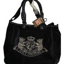 Juicy Couture- Beautiful Med/large  Tote Bag - Navy Blue Soft Leather and Velour Photo