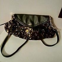 Juicy Couture Black and Gold Cross Body Sequined Purse Double Section Pink Vgc Photo