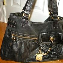Juicy Couture Black Leather Gold Inside/outside Pockets Satchel Hobo Purse Photo
