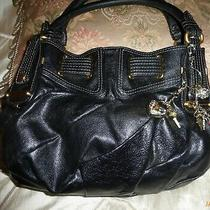 Juicy Couture Black Leather Shoulder Handbag Purse Tote Hobo Satchel 16x 9 1/2x4 Photo