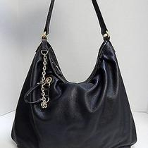 Juicy Couture Black Leather Top Zip Hobo Shoulder Bag Photo