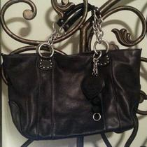 Juicy Couture Black Pebble Leather Hand Bag Purse Hobo Tote Photo