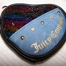 Juicy Couture Black Sequin Denim Wristlet Coin Purse Multi-Color  Nwt 40 Photo