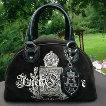 Juicy Couture Black Velour Bowler Charm Bowler Satchel Purse Photo