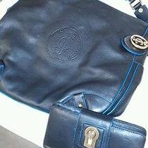Juicy Couture Black With Blue Trim Leather Hobo Handbag &wallet Photo