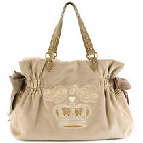 Juicy Couture Bling Sequin Crown Large Daydreamer Purse Tan Photo