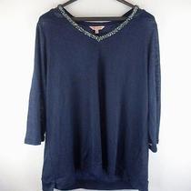 Juicy Couture Blue Cold Shoulder 3/4 Sleeve v-Neck Size Xl Regular Photo