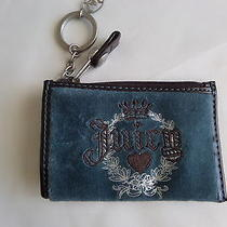 Juicy Couture Blue Suede Wristlet Wrist Bag Coin Purse  Photo