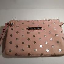 Juicy Couture Blush Micro Suede W/ Silver Polka Dot Clutch Mint Condition Photo