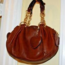 Juicy Couture Brown Leather Handbag Satchel Hobo Purse Shoulder Boho Studs Biker Photo