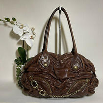 Juicy Couture Classic Ruched Brown Leather Bag 258 Photo