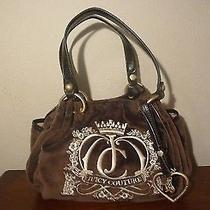 Juicy Couture Daydreamer Velour Scottie Satchel Brown Espresso Logo Signature Photo