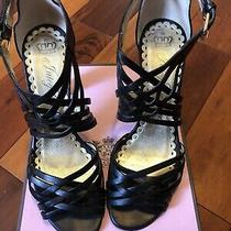 Juicy Couture Ella Black Leather Heels Made in Italy Size 9 Photo