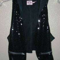 Juicy Couture Embellished Black Hooded Vest Girl's Size Xl (14)  Euc Photo