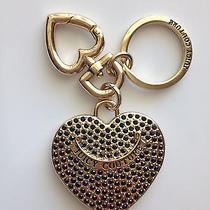 Juicy Couture Flawless Gold / Black 2 Hearts Handbag Charm Key Chain Ring Fob Photo