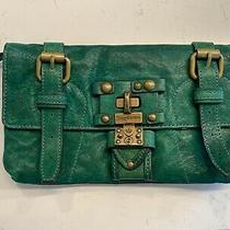 Juicy Couture Genuine Leather Clutch Teal Green Handbag Photo