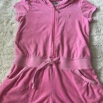Juicy Couture Girls Size 10 Pink Hooded Zip Romper Shortalls Photo