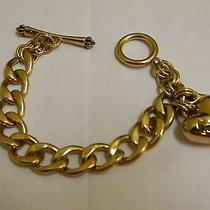 Juicy Couture Gold Link Charm Bracelet (Starter )toggle Closure Raised Insignia Photo