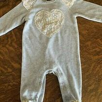 Juicy Couture Grey Baby Girl 3/6 Month One Piece Sleepwear Lace Gold Heart Photo