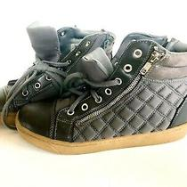 Juicy Couture Grey Quilted Satin Fashion High Top Sneakers Women 8 Zip Laces Photo