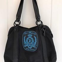 Juicy Couture Her Majesty Large Nylon/leather Purse Hobo Euc Black Blue Handbag Photo