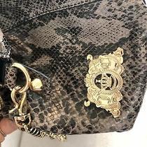 Juicy Couture La Silvia Snake Leather Satchel Gray Gold Purse Handbag Bag Photo