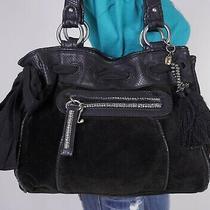 Juicy Couture Large Black Leather Velour Shoulder Hobo Tote Satchel Purse Bag Photo