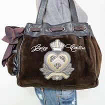 Juicy Couture Large Brown Cotton Leather Shoulder Hobo Tote Satchel Purse Bag Photo