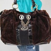 Juicy Couture Large Brown Velour Leather Shoulder Hobo Tote Satchel Purse Bag Photo