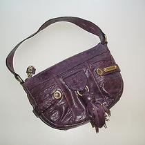 Juicy Couture Leather Hobo Handbag Purple Tassel Studs Gold Hardware Distressed Photo
