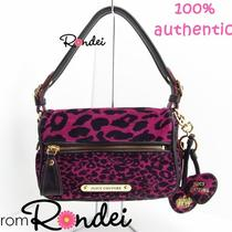 Juicy Couture Leopard Cheetah Animal Print Satchel Hobo Bag Purple & Keychain Photo