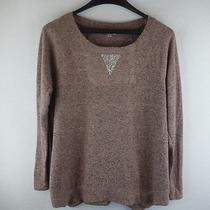 Juicy Couture Long Sleeve Pink Sweater With Diamond Patch Size Large Regular Photo