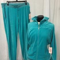 Juicy Couture Luxurious Ceramic Teal Velour Outfit Women's Size Large New Photo