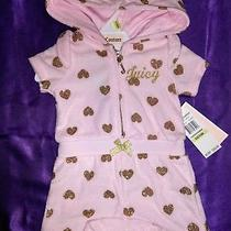 Juicy Couture One Piece Hooded Jumper Pink With Gold Glitter Baby Girl 3-6m Photo