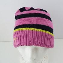 Juicy Couture Pink and Black Color Block Stripe Beanie O/s Photo