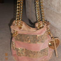 Juicy Couture Pink Sequin Striped Chain Hobo Bucket Bag Purse Photo