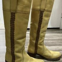 Juicy Couture Premium Yellow Distressed Leather Moto Tall Harness  Boot 7 Photo