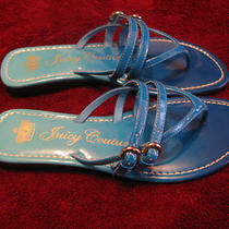 Juicy Couture Sandals 50% Off- Size 6 1/2  - 7 Teal Patent Leather - New Photo