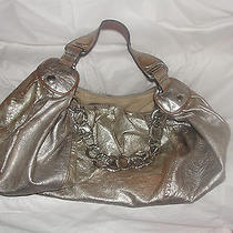 Juicy Couture Silver Leather Xl Hobo Handbag With Hammered Chain Links Photo